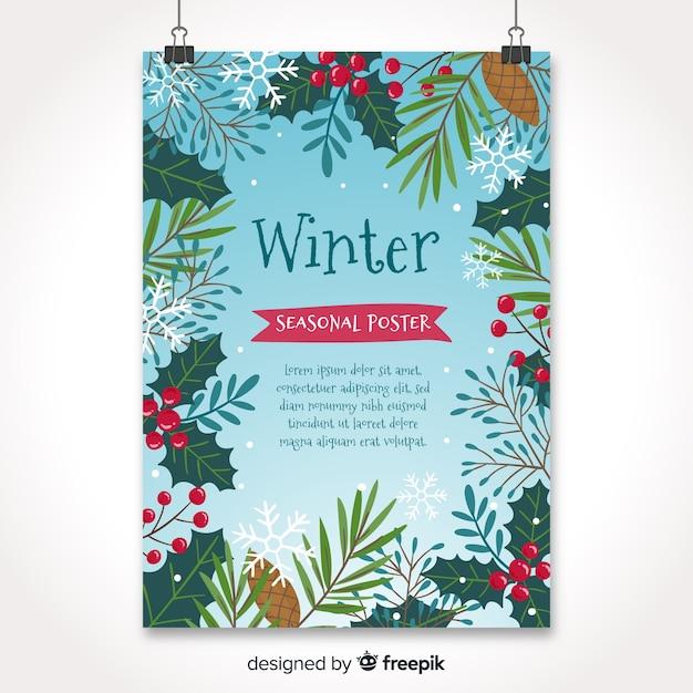 Handgezeichnete stil saisonale plakatsammlung Kostenlosen Vektoren
