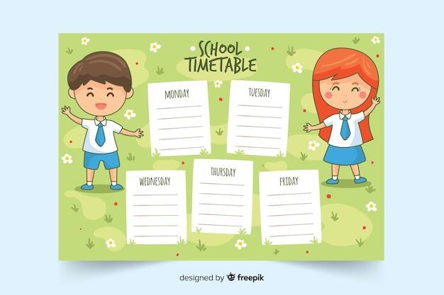 Handgezeichnete stundenplan vorlage Kostenlosen Vektoren
