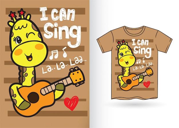 Handgezeichnete süße giraffe für t-shirt Premium Vektoren