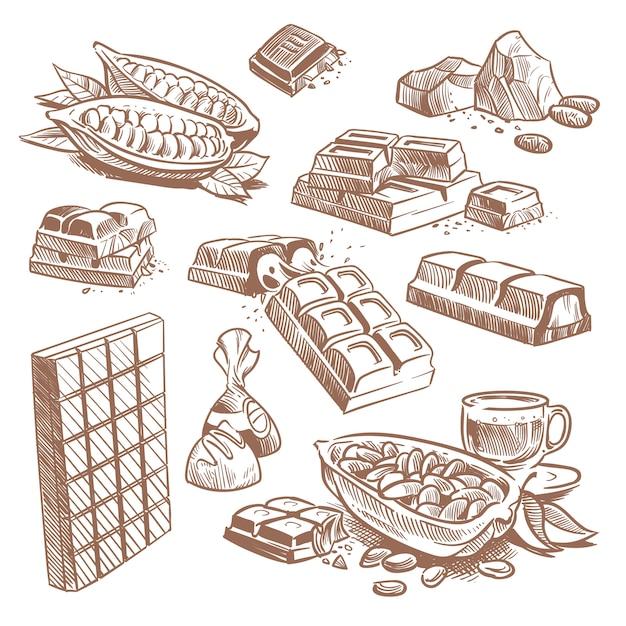 Handgezeichnete süße schokoriegel, bonbons mit pralinen und kakaobohnen Premium Vektoren