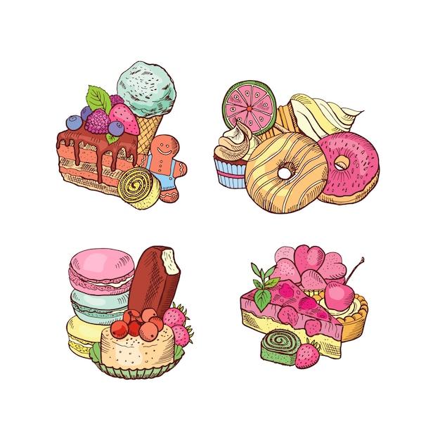 Handgezeichnete süßigkeiten haufen gesetzt. Premium Vektoren