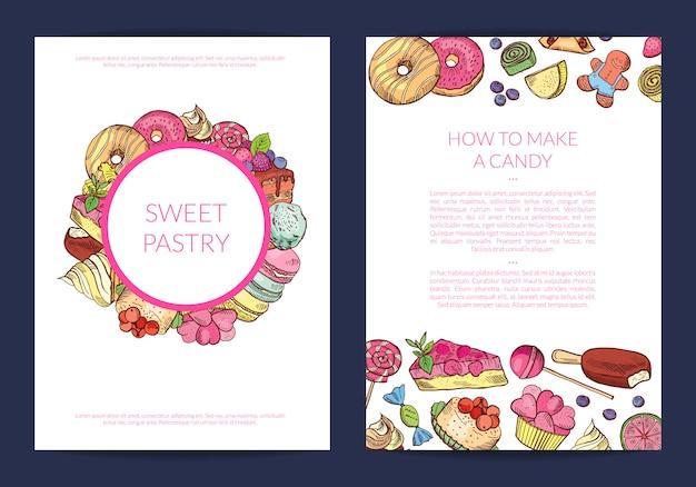 Handgezeichnete süßigkeiten, konditorei oder süßwaren banner Premium Vektoren