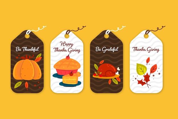 Handgezeichnete thanksgiving-abzeichensammlung Kostenlosen Vektoren