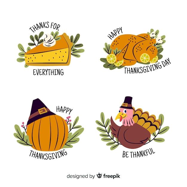 Handgezeichnete thanksgiving-etiketten mit gemüse und truthahn Kostenlosen Vektoren