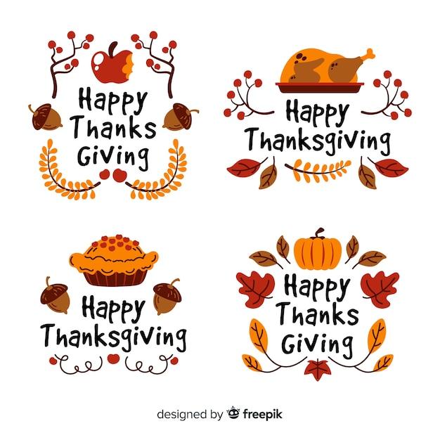 Handgezeichnete thanksgiving-label-auflistung Kostenlosen Vektoren