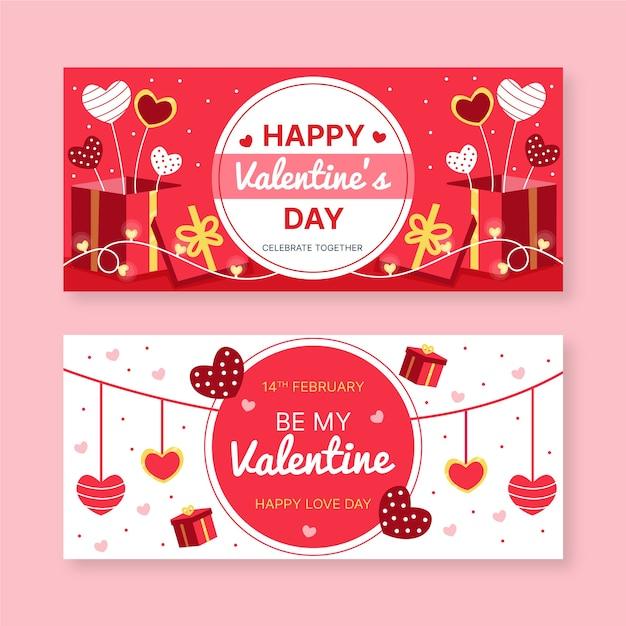 Handgezeichnete valentinstag banner Kostenlosen Vektoren