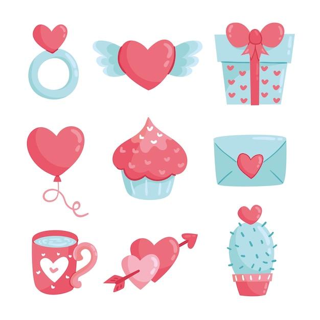 Handgezeichnete valentinstag element sammlung Kostenlosen Vektoren