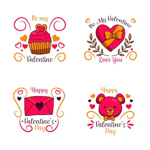 Handgezeichnete valentinstag etiketten mit bändern Kostenlosen Vektoren