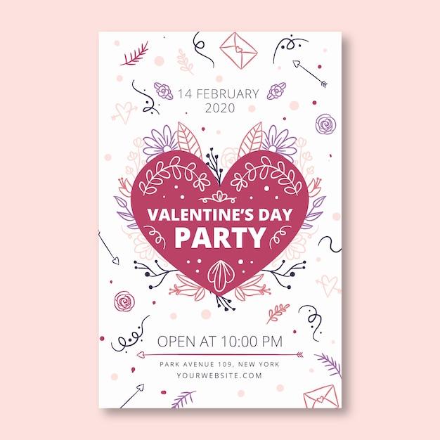 Handgezeichnete valentinstag party flyer / plakat vorlage Kostenlosen Vektoren