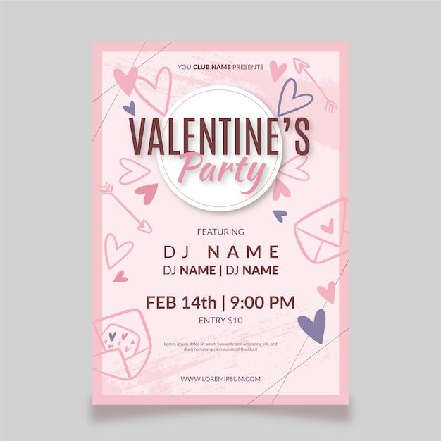Handgezeichnete valentinstag party flyer / poster Kostenlosen Vektoren