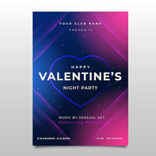 Handgezeichnete valentinstag party flyer vorlage Kostenlosen Vektoren