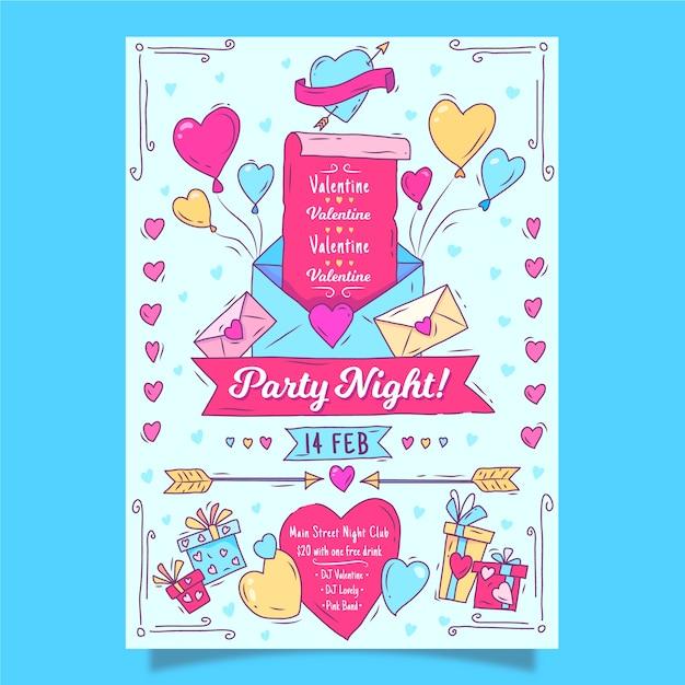 Handgezeichnete valentinstag party plakat vorlage Kostenlosen Vektoren