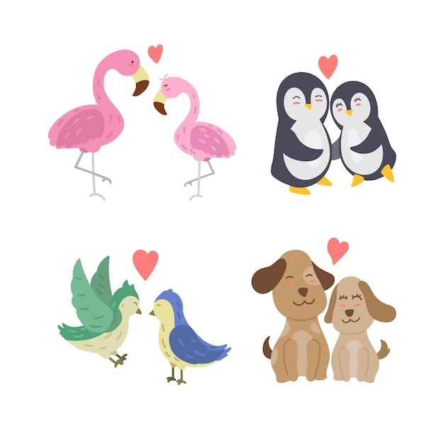 Handgezeichnete valentinstag tierpaare Kostenlosen Vektoren
