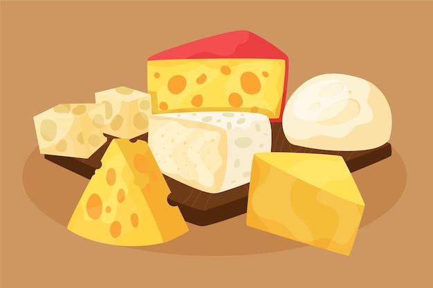 Handgezeichnete verschiedene käsesorten Kostenlosen Vektoren