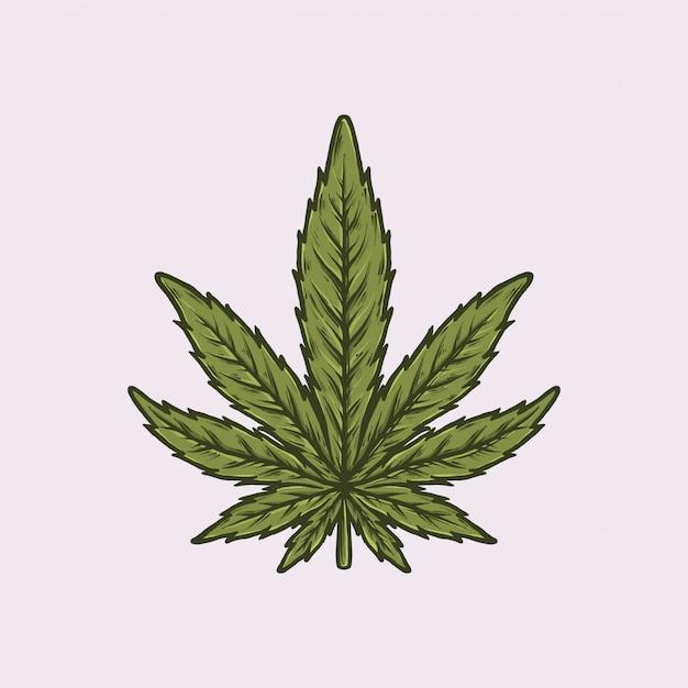 Handgezeichnete vintage cannabis Premium Vektoren