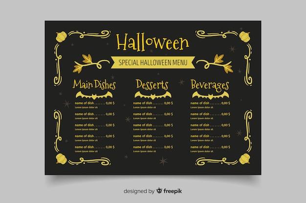 Handgezeichnete vintage halloween menüvorlage Kostenlosen Vektoren