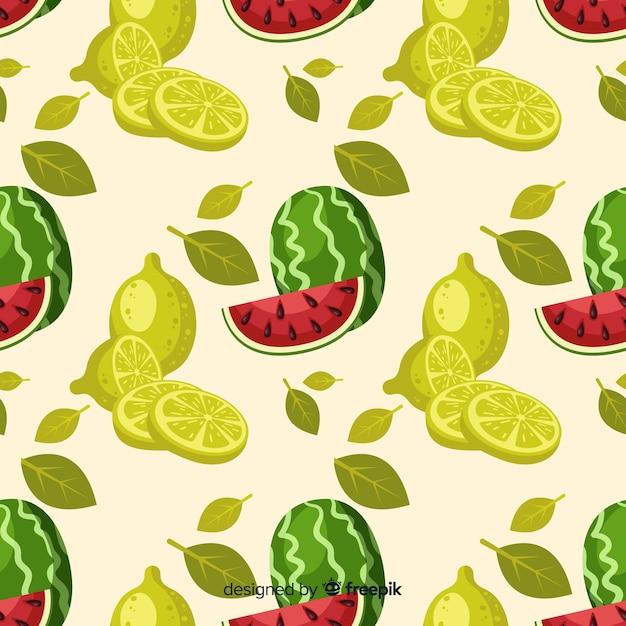 Handgezeichnete wassermelone und limetten muster Kostenlosen Vektoren