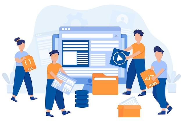 Handgezeichnete webentwickler Kostenlosen Vektoren
