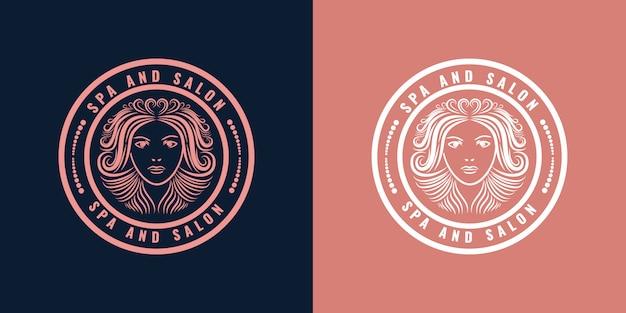 Handgezeichnete weibliche und florale logo-abzeichen des rosa frauengesichtskonzepts, geeignet für haarpflege- und schönheitsunternehmen premium des spa-salons Premium Vektoren