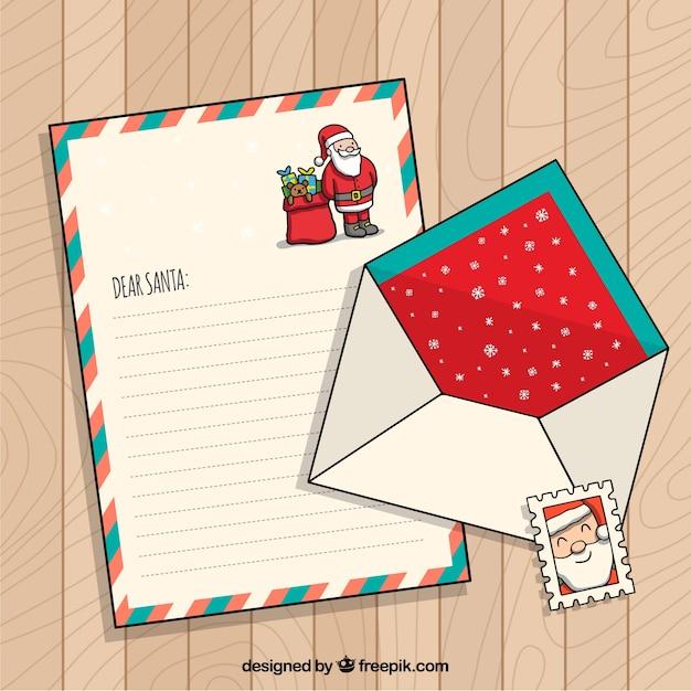 Handgezeichnete Weihnachten Briefvorlage Mit Weihnachtsmann