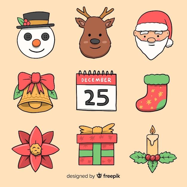 Handgezeichnete weihnachten elementsammlung Kostenlosen Vektoren