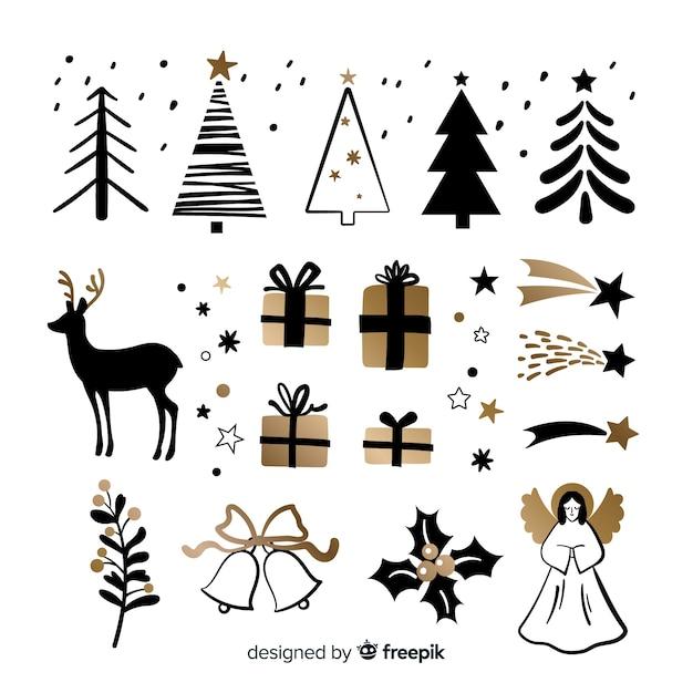 Handgezeichnete weihnachten elementsammlung Premium Vektoren