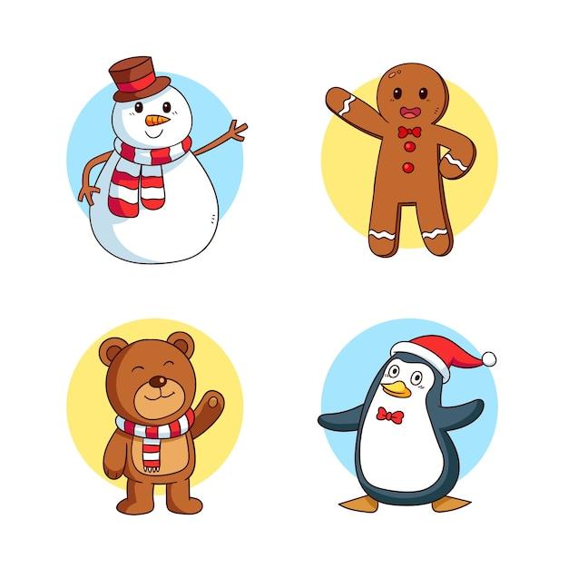 Handgezeichnete weihnachten zeichen sammlung Kostenlosen Vektoren