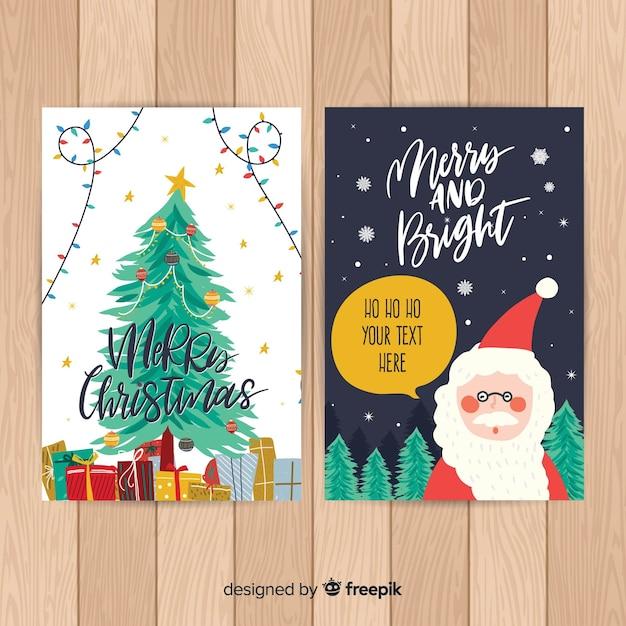 Vorlagen Weihnachtskarten Drucken.Handgezeichnete Weihnachtsmann Weihnachtskarte Vorlage Download