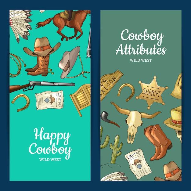 Handgezeichnete wildwest cowboy elemente web banner Premium Vektoren