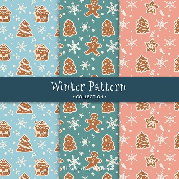 Handgezeichnete winter-muster-kollektion Kostenlosen Vektoren