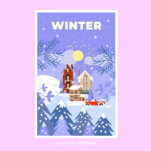 Handgezeichnete winter plakat vorlage Kostenlosen Vektoren