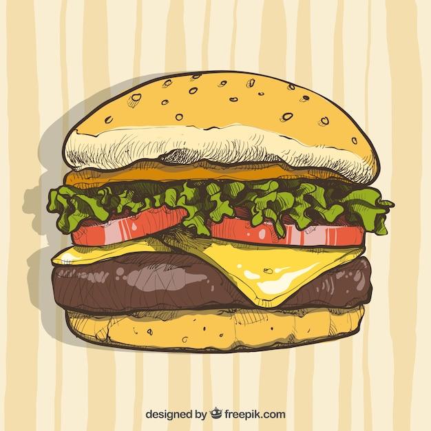 Handgezeichneter cheeseburger Kostenlosen Vektoren