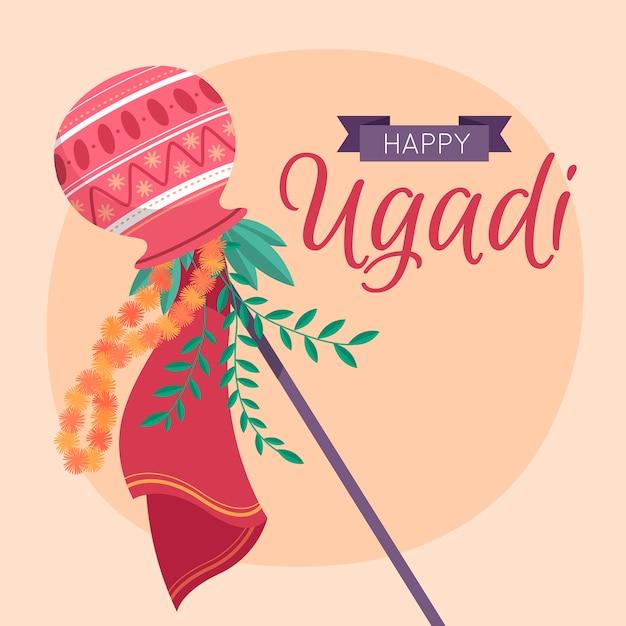 Handgezeichneter glücklicher ugadi tag Kostenlosen Vektoren