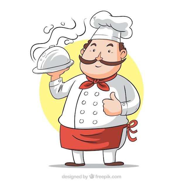 Handgezeichneter hintergrund des kochs mit tablett Premium Vektoren