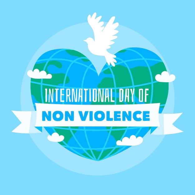 Handgezeichneter internationaler tag der gewaltlosigkeit Premium Vektoren