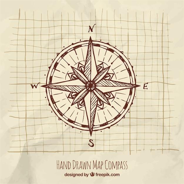 Handgezeichneter kompass Kostenlosen Vektoren