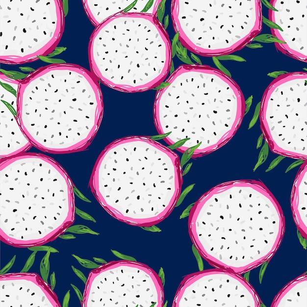 Handgezeichneter nahtloser muster-pitaya-fruchtdruck für sommertextilien Premium Vektoren