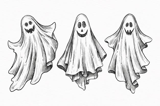 Handgezeichneter satz des halloween-geistes Kostenlosen Vektoren