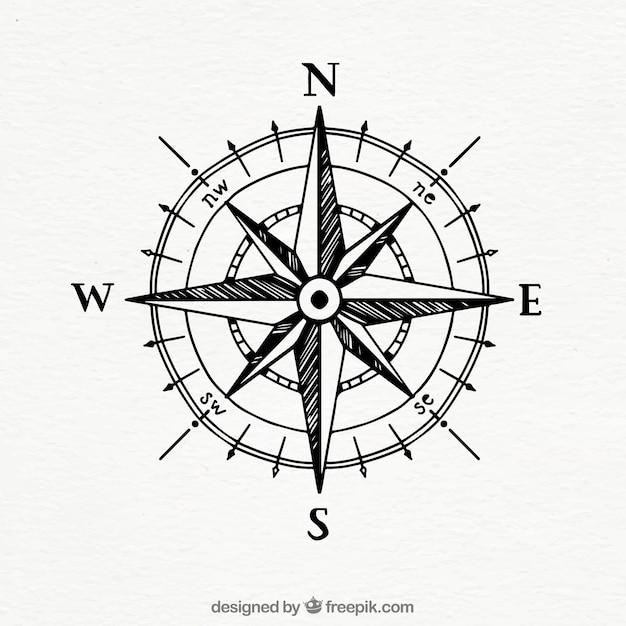Handgezeichneter vintage kompass Kostenlosen Vektoren