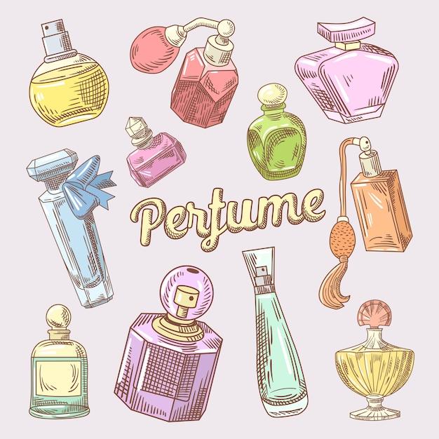 Handgezeichnetes doodle für parfüm und kosmetik mit verschiedenen flaschen Premium Vektoren