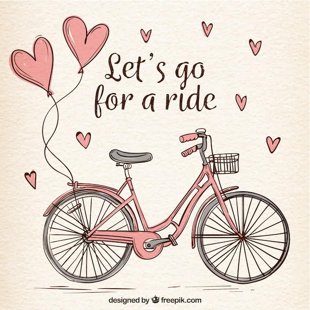 Handgezeichnetes fahrrad mit süßen herzen Kostenlosen Vektoren