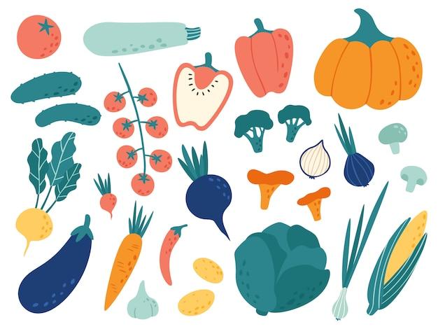 Handgezeichnetes gemüse. gemüse-ernährungs-gekritzel, veganes bio-lebensmittel- und gemüsekritzel-illustrationsset Premium Vektoren