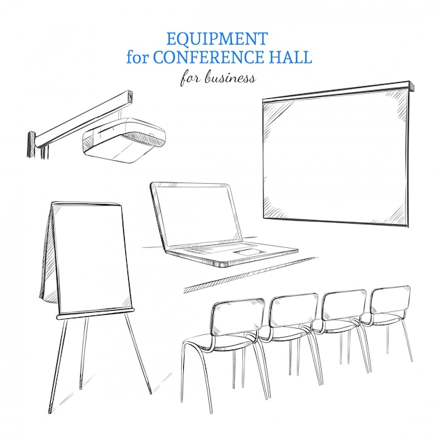 Handgezeichnetes geschäftspräsentations-ausrüstungsset Premium Vektoren