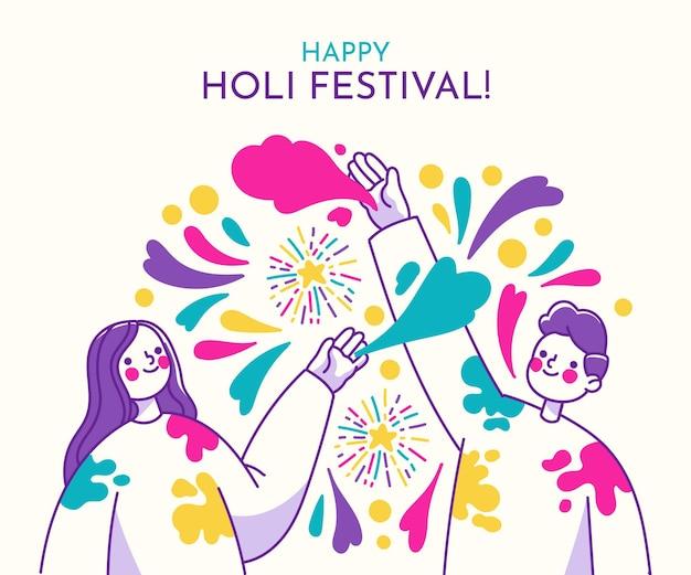 Handgezeichnetes holi festival mit menschen und farben Kostenlosen Vektoren