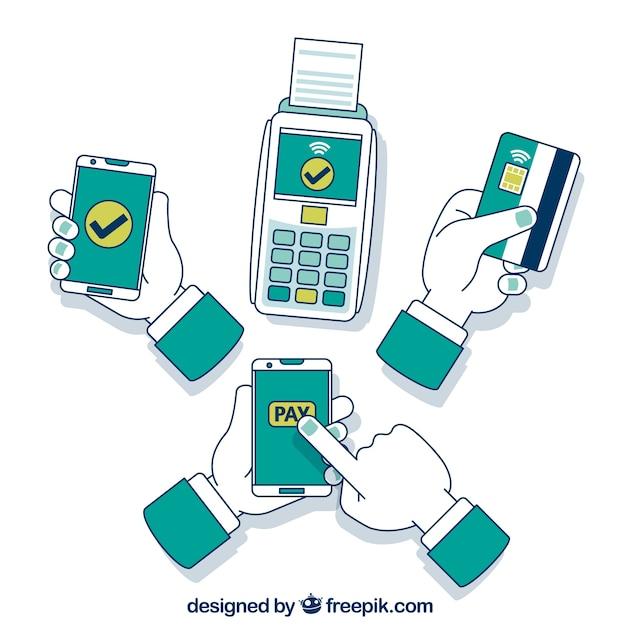 Handgezeichnetes kontaktloses zahlungskonzept Kostenlosen Vektoren