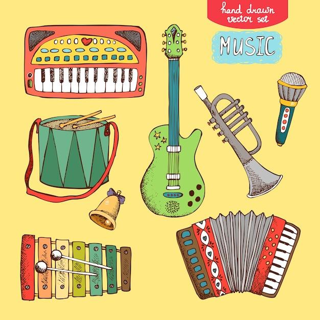 Handgezeichnetes musikinstrument der vektorillustration: gitarrentrompete akkordeon trommel synthesizer Kostenlosen Vektoren