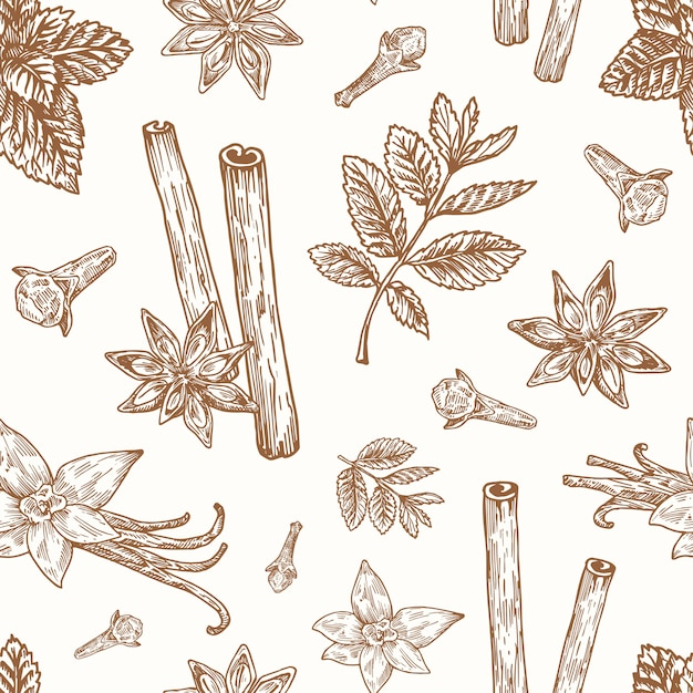 Handgezeichnetes nahtloses hintergrundmuster von anis, minze, zimt, nelke und vanillevektor Kostenlosen Vektoren