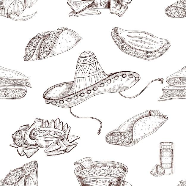 Handgezeichnetes nahtloses muster des mexikanischen essens Kostenlosen Vektoren