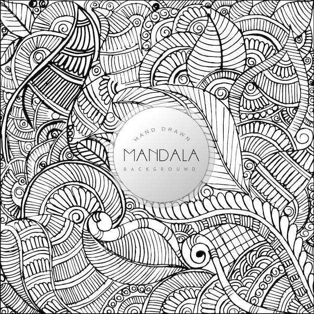 Handgezeichnetes Schwarzweiss-Blumen-Mandala-Muster-Hintergrund ...
