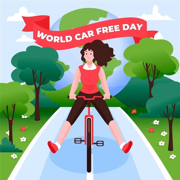 Handgezeichnetes thema des autofreien welttages Kostenlosen Vektoren